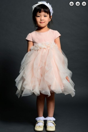 Free Shipping Vestidos De Madrinha 2014 A-line Handmade High Neck Cap Short Sleeves Ivory Custom Knee Length Flower Girl Dresses