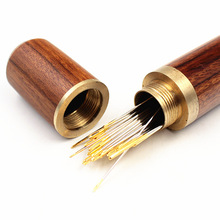 DIY Sewing Needles Holder Storage Tube Wooden Box Hand Sewing Needles Case Leather Knitting Embroidery Mending Needles Container