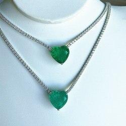 Stenen Ketting Sieraden Zirconia Carbon Paraiba Emerald Vrouwen Tas Gift 925 Sterling Zilver Hele Stone Chain Zirkoon Unieke