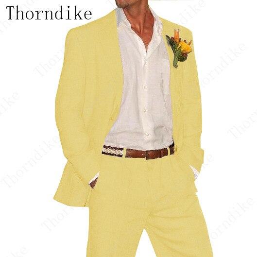 Wedding-Suits Thorndike Designs Yellow Pants Coat Groom Linen Slim-Fit Custom 2pieces