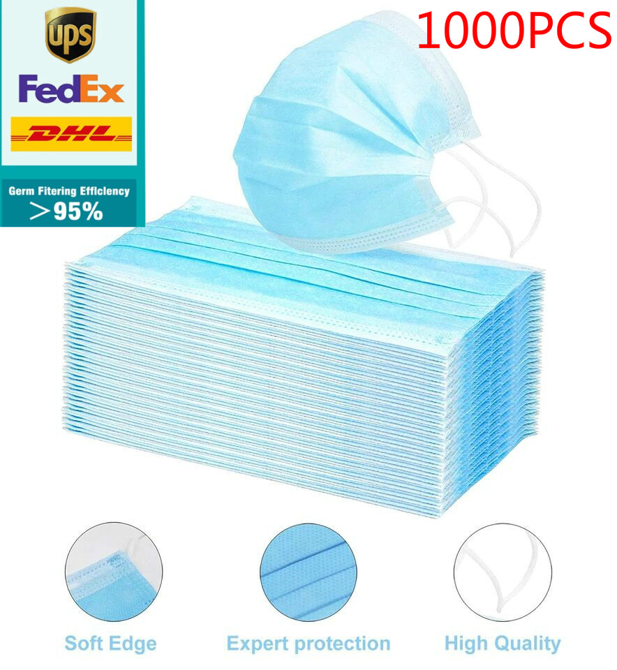 Dhl Free 100/200/300/500/800/1000pcs Disposable Face Mask Anti Virus Flu Safety Masks Safety Mask Face Mouth Mask