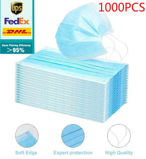 dhl free 200/300/500/800/1000pcs Disposable Face Mask Anti Virus flu Safety Masks safety Mask Face Mouth Mask