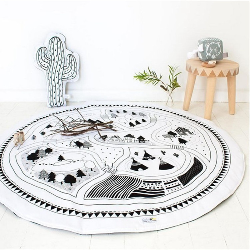 Round Baby Play Mat Soft Padded Crawling Blanket Kids Car Track Puzzle Rug Children Play Crawl Carpet Mat Photo Props