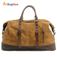 New Canvas Leather Duffle Bag Men Travel Gym Fitness Soft Handbag Vintage Large Capacity Tourist Crossbody Shoulder Luggage Bags