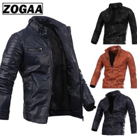 ZOGAA Men Leather Suede Jacket Fashion Autumn Motorcycle PU Leather Male Winter Bomber Jackets Outerwear Faux Leather Coat