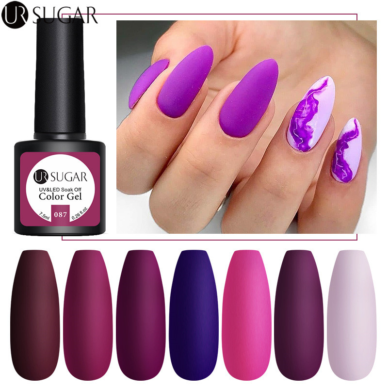 UR SUGAR 7.5ml Nail Gel Polish Purple Series Hybrid Varnish Semi Permanent UV Gel Base Top Coat Glitter Gel Lacquer Soak Off LED
