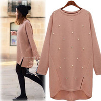 Large size women's 2019 Autumn Round Neck pullover long Sleeve Split beading sweater Plus Size Winter femme Clothing Casual Tops