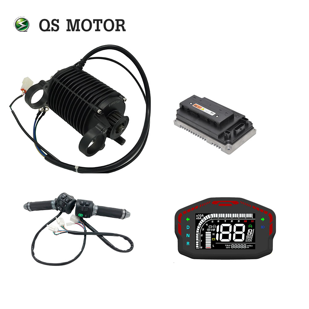 QS 1000W 90 72V 55KPH Mid Drive Motor Kits With EM50SP Controller 428 Chain