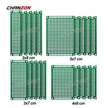 20 pces placa dupla face do pwb (2x8 3x7 4x6 5x7) estanhado fr4 protótipo kit circuito universal impresso perfboard para diy solda