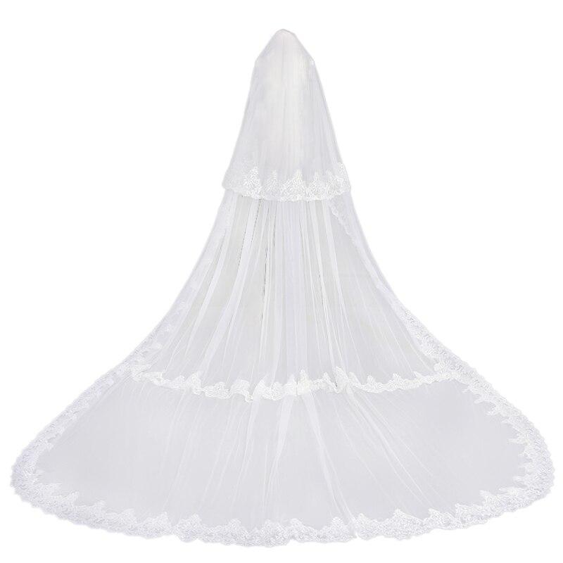Charming White 3.8 Meters Long Applique  Wedding Veils Bridal Accessories Veils