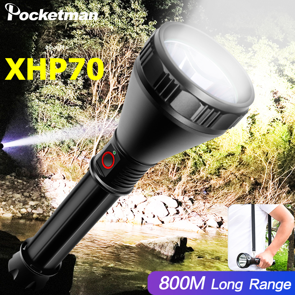Super Bright XHP70 Flashlight Powerful Light Cup LED Torch USB Rechargeable Flashlight Waterproof Torch 26650 Battery