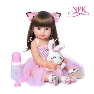 NPK55CM Flexible doll lovely baby full body silicone soft real touch bebe doll reborn toddler girl(China)