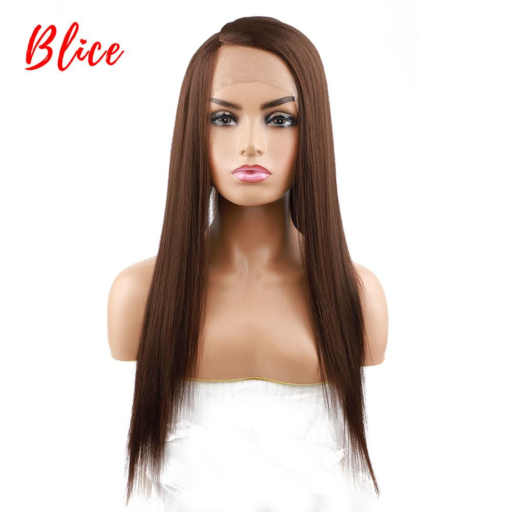 Blice Long Straight Hair Synthetic Front Lace Wig Brown Natural Density Side Part Cosplay Glueless Heat Resistant Wigs For Women