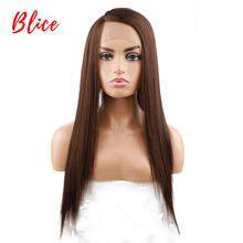 Blice Long Straight Hair Synthetic Front Lace Wig Brown Natural Density Side