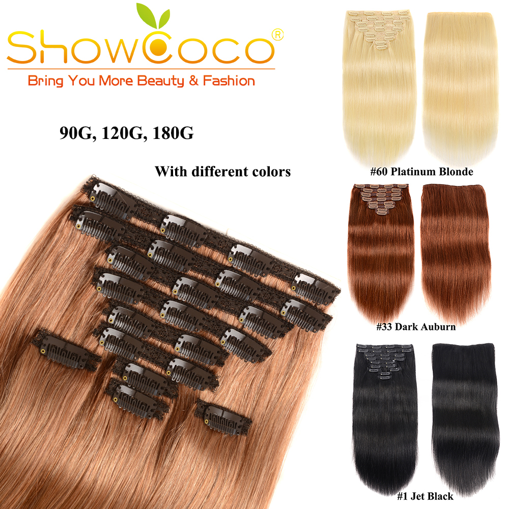 Showcoco 8 Pieces Set Hair Extension Machine Remy Clip In Human Hair Extensions Korean Hair Clips Silky Straight Clip In Hair