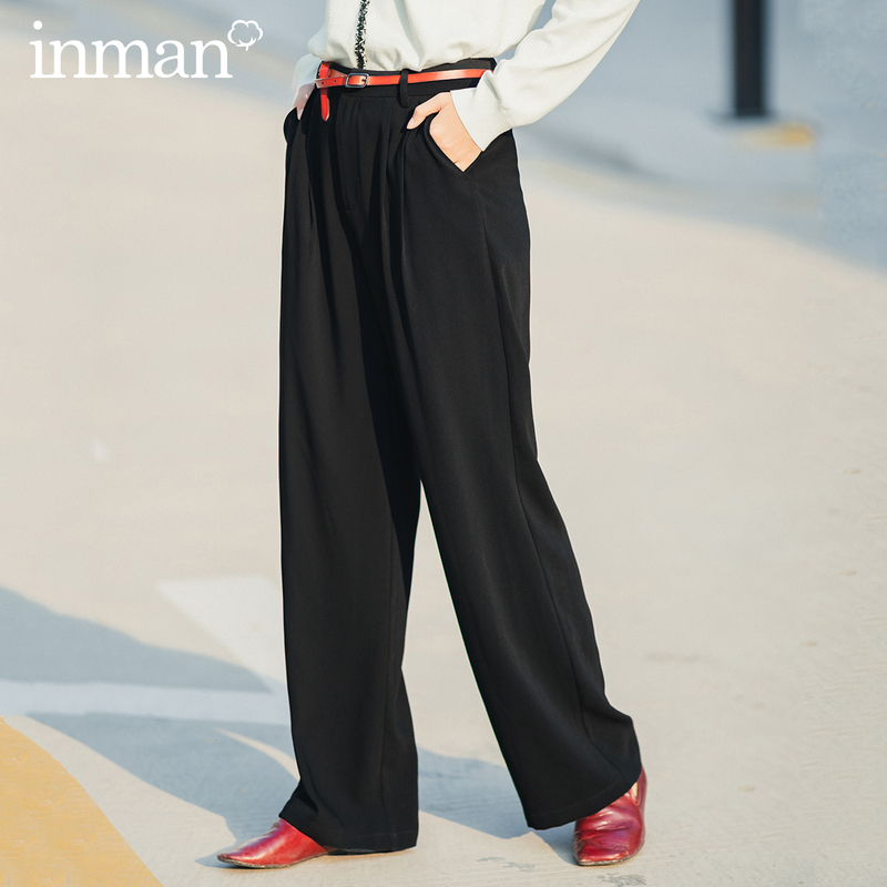 INMAN 2020 Spring New Arrival Literary High Waist Black Wide Leg Showing Fitness All Matched Office Casual Pant
