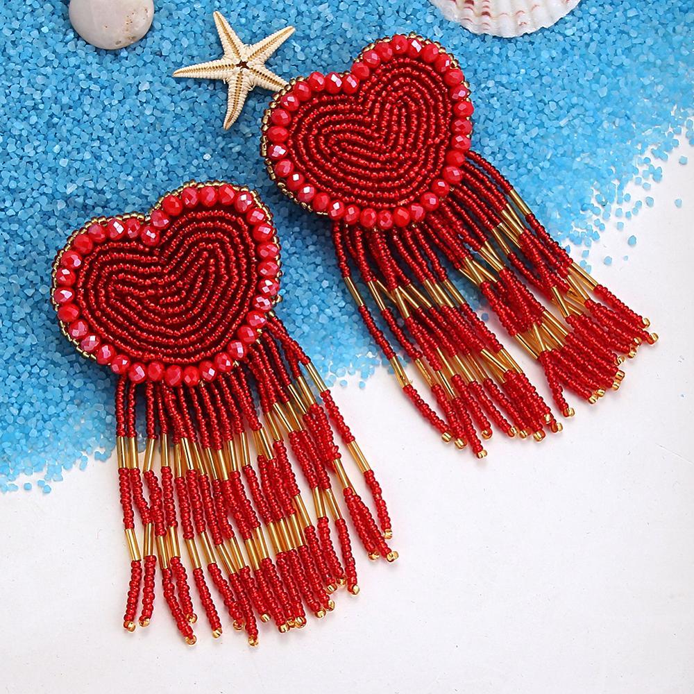ROYALBEIER Bohemian Peach Heart Long Tassel Earrings LOVE Heart Beaded Pendant Earrings Couples Gift Charm Jewelry Earrings
