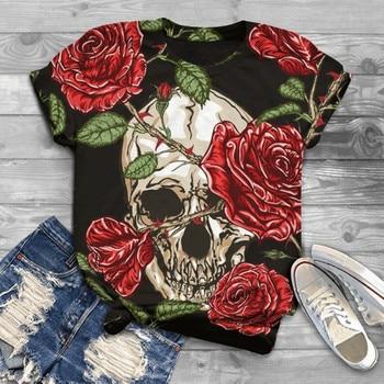 Tops Women Graphic T Shirts Plus Size Women Short Sleeve Skull Printed O-Neck Tops T-Shirt