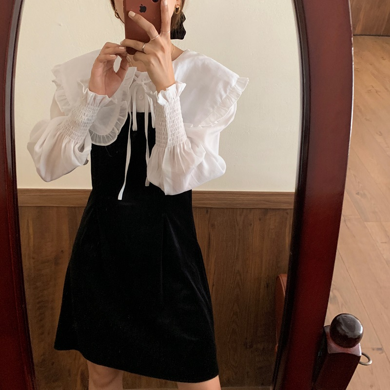 H240ccd45301d446eaff71e990151f8c78 - Autumn / Winter Puritan Collar Long Sleeves Velvet Stitching Dress