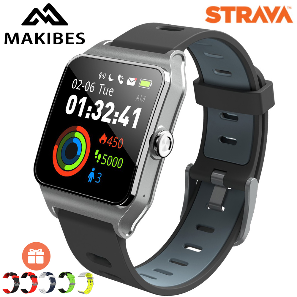 Dropshipping Makibes BR3 Strava Smartwatch Men Built in GPS Smart Watch IP68 Waterproof Fitness Tracker Heart Rate Monitor Watch-in Smart Watches from Consumer Electronics