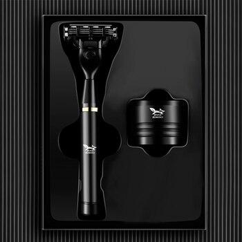 Black Manual Shave Razor Three Layer Blades Razor for Men Shaving Razor Blades Safety Razors Face Care Beard Shavers Gift Box 4