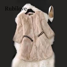 Rubilove Winter Women Real Rabbit Fur Jackets Slim Warm Soft Overcoat Full Pelt Female Coat