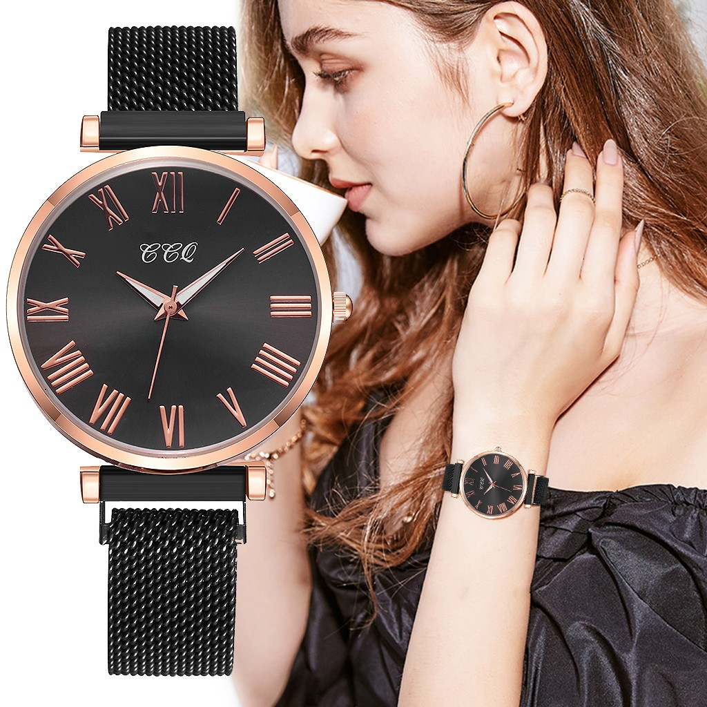 Stainless Steel Mesh Watch Women Luxury Casual Roman Numerals Quartz Watches Clock Elegant Ladies Wrist Watch Montre Femme#W