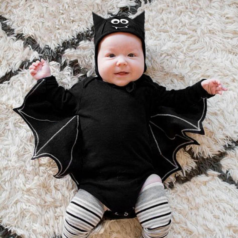 Halloween Baby Boys Outfits Newborn Baby clothing Toddler Baby Boys Girls Halloween Bat Cosplay Costume Long Sleeve   Romper  +Hat