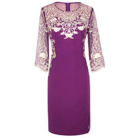 Heavy Lace Embroidery Women Dress Fashion Patchwork O Neck Work Dresses D121