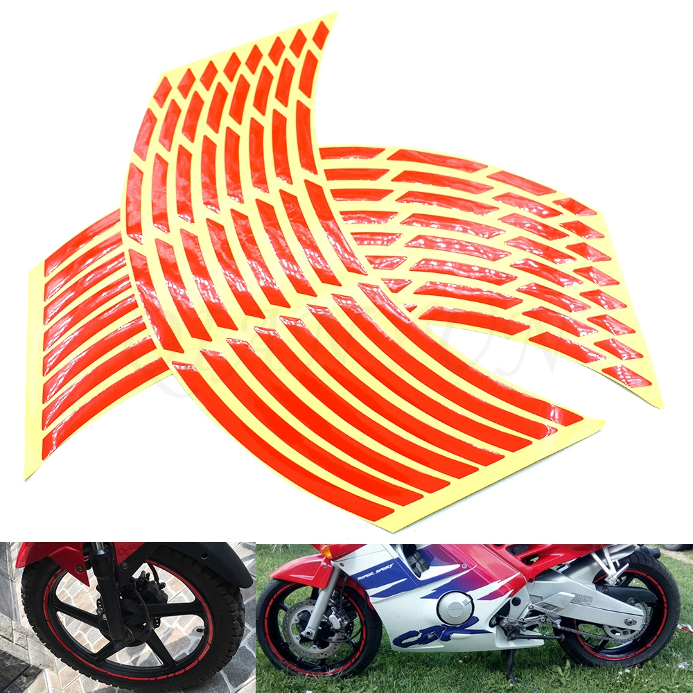 Universal car motorcycle tire <font><b>sticker</b></font> reflective strip tape decal for Honda CBR250R <font><b>CBR300R</b></font> CB300F CBR500R CB500F CBR600RR CB600 image