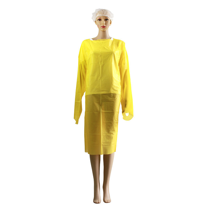 Disposable CPE Gown Isolation Clothing Reverse Wear Thumb Buckle Sleeve Apron Plastic Film Oil Protective Clothing 100pcs