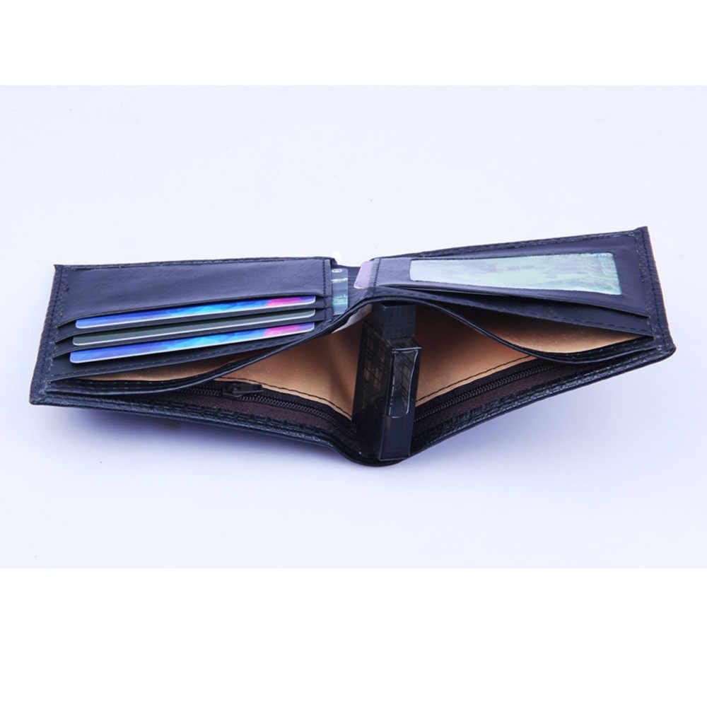 Cartera corta de cuero PU para hombre, tarjetero negro, pequeñas carteras de negocios para hombre, monedero de bolsillo