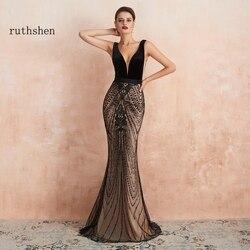 Русалка женское элегантное вечернее платье Черное длинное роскошное Дубай вечернее платье для официального торжества выпускного вечера п...