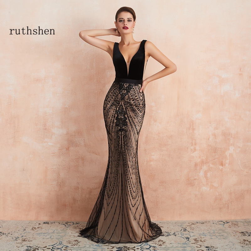 Mermaid Women Evening Dress Elegant Black Long Luxury Dubai Evening Gown Formal Party Prom Dresses 2019 Vestidos De Gala