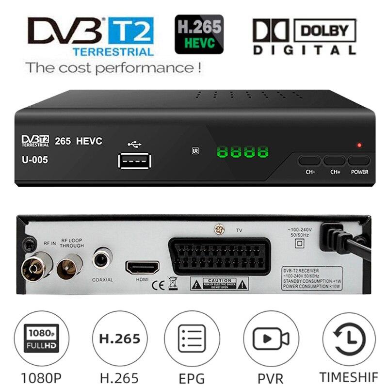 Европа 8bit HEVC DVB-T2 H.265 вещательный тюнер DVB T2 конвертер HEVC 265 ТВ Декодер DVBT2 цифровой ТВ приставка наземный приемник