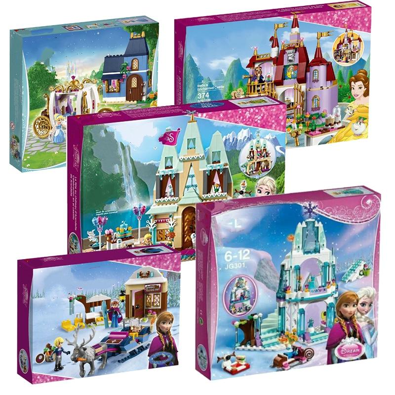 Princess Castle Building Blocks Snow Queen Elsa Anna Cinderella Ariel Figure Compatible Lepining Friends Bricks Toys Model