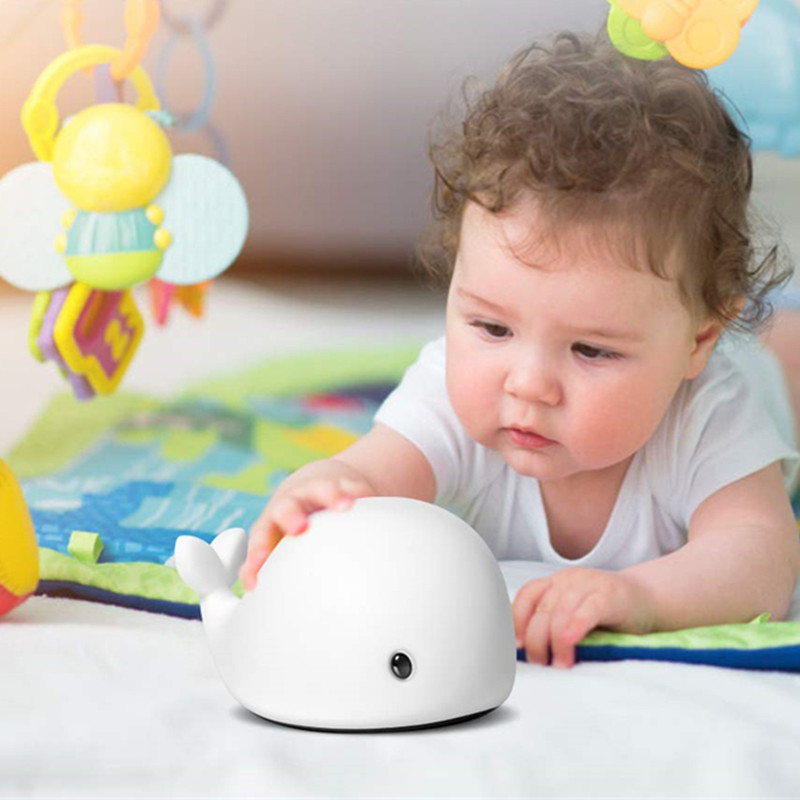 New Arrival LED Night Light Motion Sensor Baby USB Cute Whale Rechargeable Children Night Lamp Toy Light Silicone Safety Dolphin