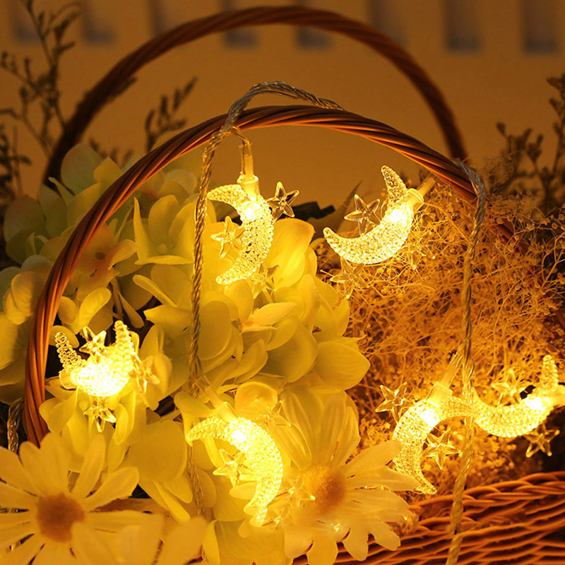 3M 20LED Star and Moon String Lights Fairy Christmas Garland Battery Operate Twinkle Light Wedding Decoration