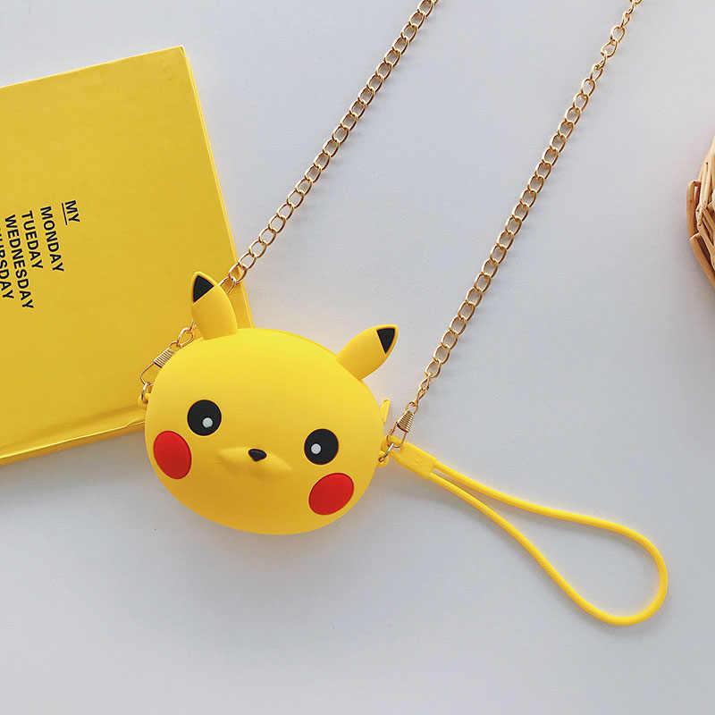 ¡Novedad! Minibolsa de mensajero con diseño de oso de dibujos animados para niñas, bonita bolsa redonda de silicona, monedero pequeño, bolsos de mano para niños, caja de hombro para niños