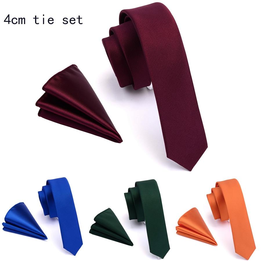Ricnais Designer 4cm Slim Tie Solid Woven Red Yellow Plain Color Necktie Hanky Set Men's Party Wedding Narrow Skinny Neck Tie