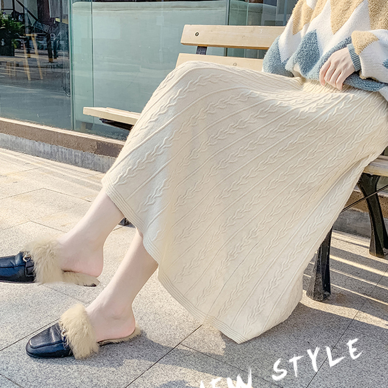 Saiqigui 2019 Women Knitted Skirt Chic Autumn Winter High Waist Retro Warm A-line Midi Knit Female Bottoms Skirt