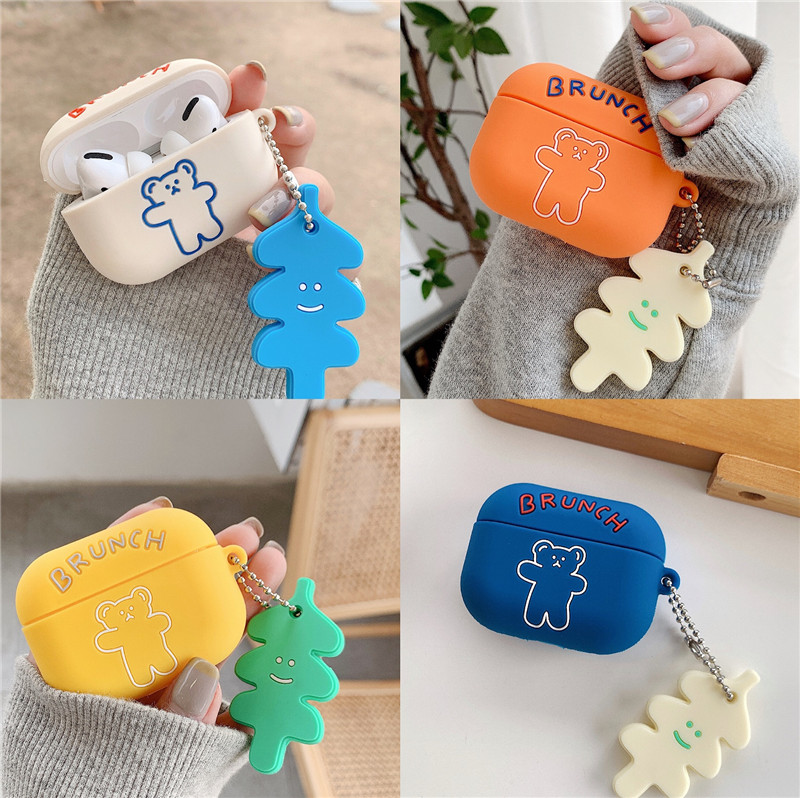 Korea Cute Cartoon Brunch Brother Headphone Case For Apple Airpods 1 2 3 Pro Soft Silicone Bear Wireless Bluetooth Headset Cover