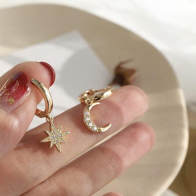 Zciti assimétrico estrela e lua brincos femininos geométrico brincos de ouro casamento 2020 diamantes para mulher 3