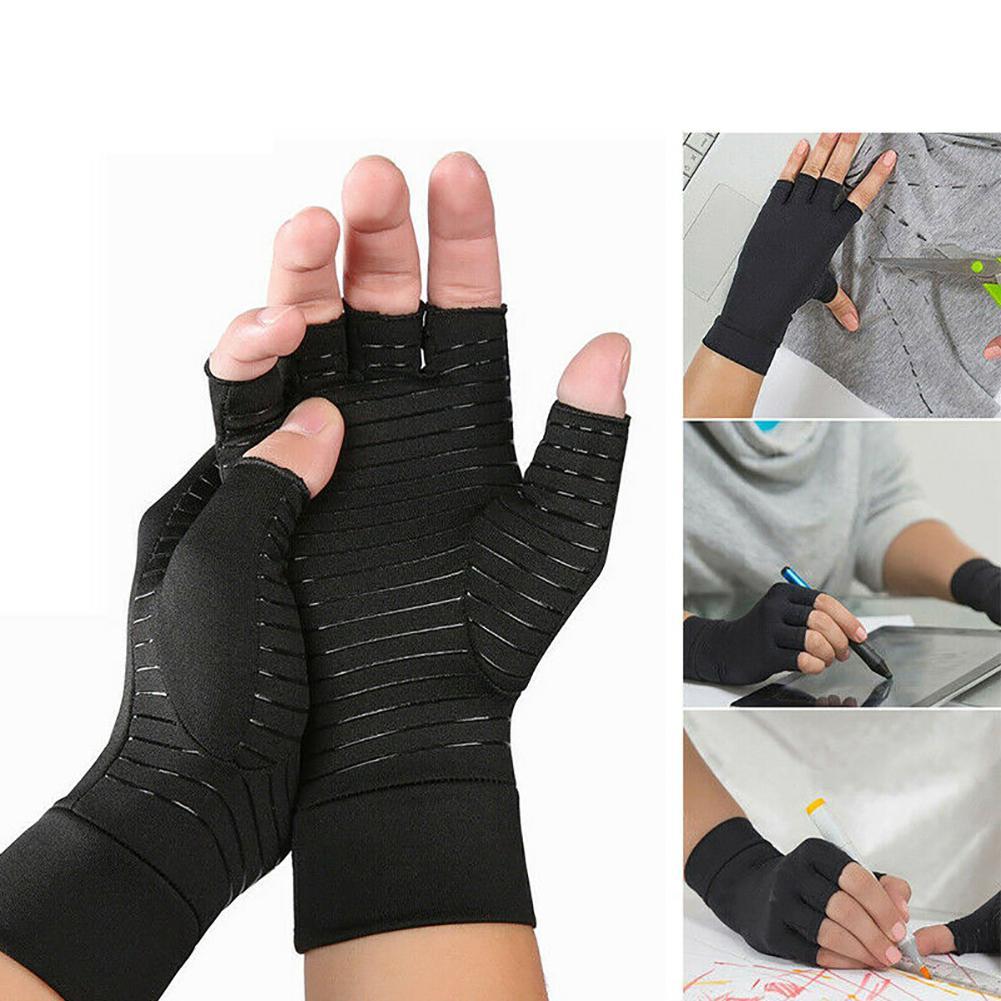 MISSKY Women Men Gloves Pair Of Copper Fiber Half Finger Rehabilitation Training Warm Nylon Pressure Gloves