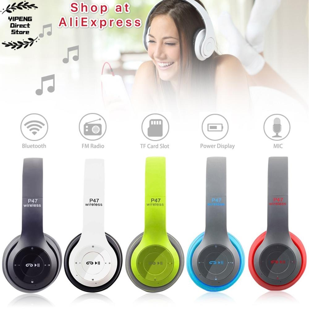 P47 Wireless Headphone HiFi Stereo Foldable Bluetooth Headset with Microphone Support SD Card for PS4 Smart Phone Tablet Laptop