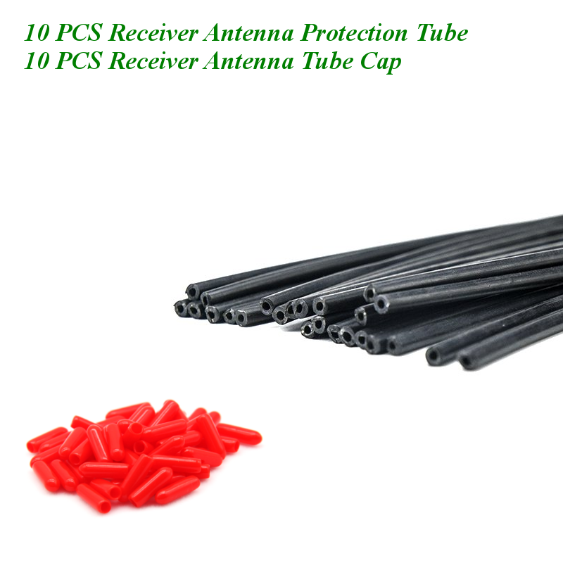 20PCS 150mm Black Receiver Antenna Protection Tube With Tube Cap Cover Fixed Pipe Shielded Tube For Frsky Flysky FPV  Drone