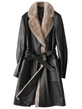 Новинка 2020, женская зимняя куртка из натуральной кожи, Воротник из натурального меха норки, пальто из овечьей кожи, длинный пуховик, Macaw KJ706