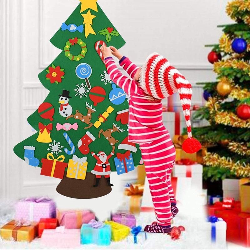 Kids DIY Felt Christmas Tree Christmas Decoration for Home Navidad 2021 New Year Gifts Christmas Ornaments Santa Claus Xmas Tree 2
