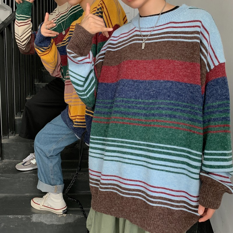 2019 Winter Men's Stripe Printing Coats In Warm Cashmere Pullover Casual Woolen Sweater Round Neck 3 Color Knitting Size M-XL