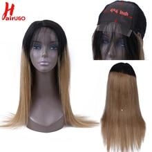 Предварительно выщипанные 4*4 Кружева Закрытие человеческих волос парики с детскими волосами 150% Омбре медовый блонд бразильские волосы remy прямые волосы HairUGo парик шнурка